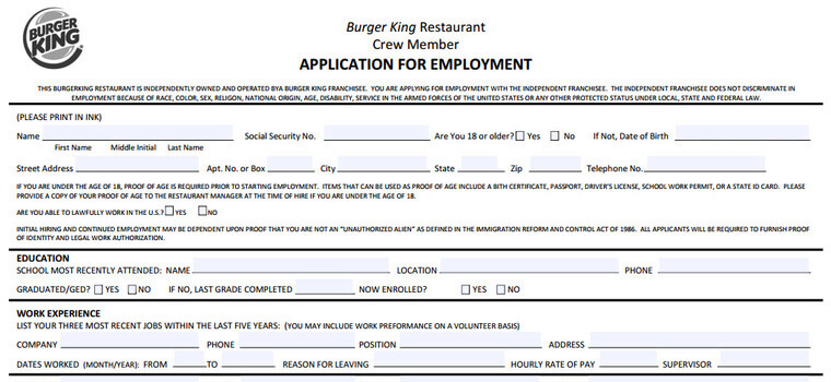 image regarding Burger King Printable Application identified as Burger King Program 2019 Employment, Activity Standards
