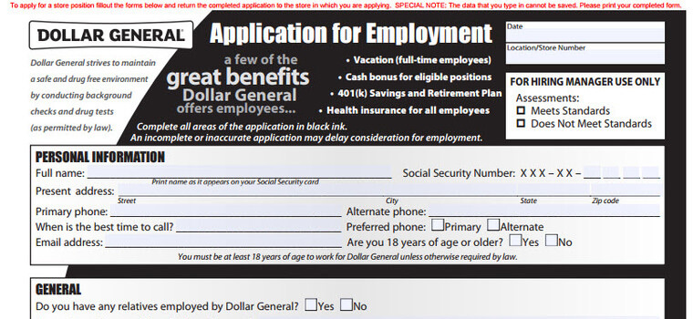 Dollar General Application  Employment Form  Interview Tips