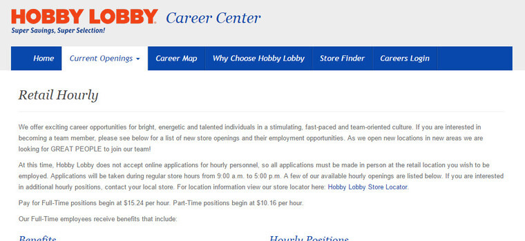 Hobby Lobby Job Application
