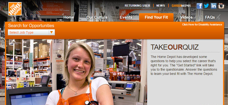 Home Depot Application | Online Form