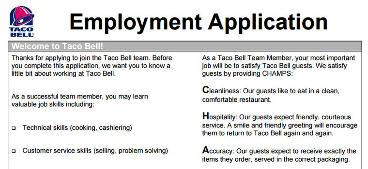 Taco Bell Pdf Application  Taco Bell Resume