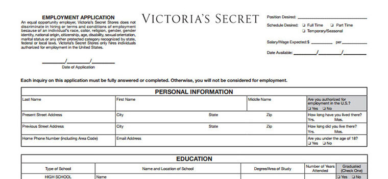 VictoriaS Secret Application  Online Form  Job Interview Tips
