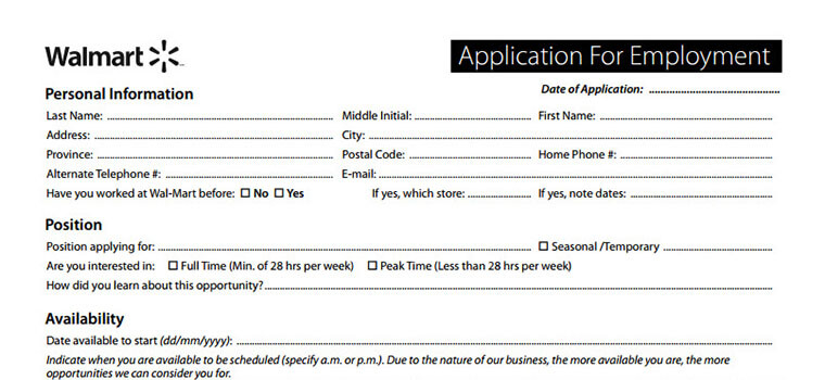 Walmart Application | Employment Form & Job Interview Tips