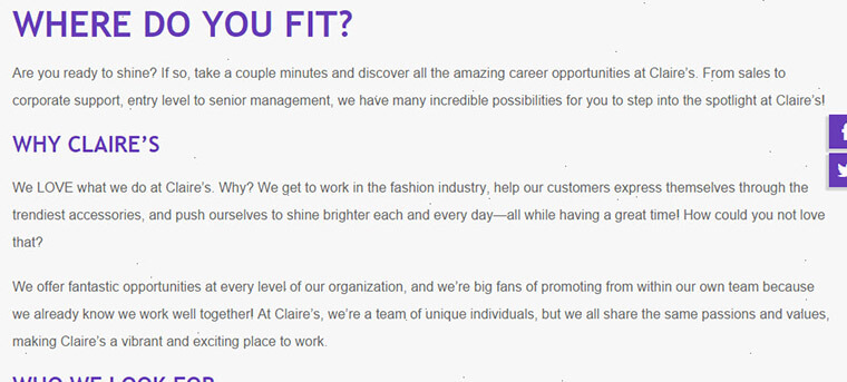 claires careers