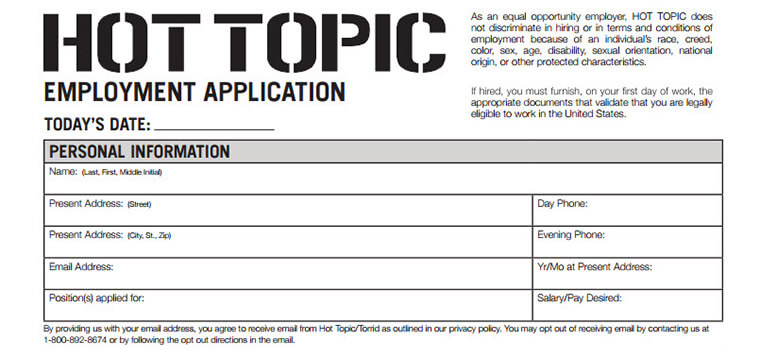 Hot Topic Application   Careers Job Requirements  Interview