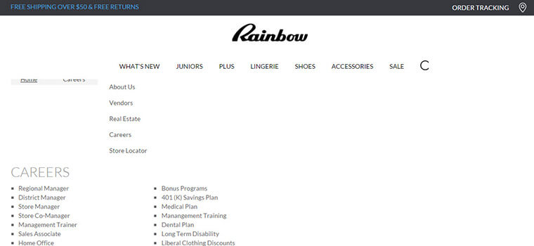 rainbow stores job application