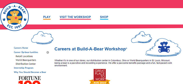 build a bear job application