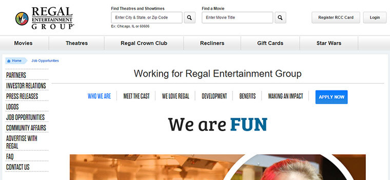 Regal Cinemas Application 2018 Careers Job Requirements