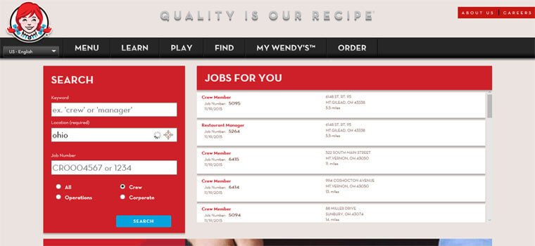 Wendy's Application | Online Form & Job Interview Tips