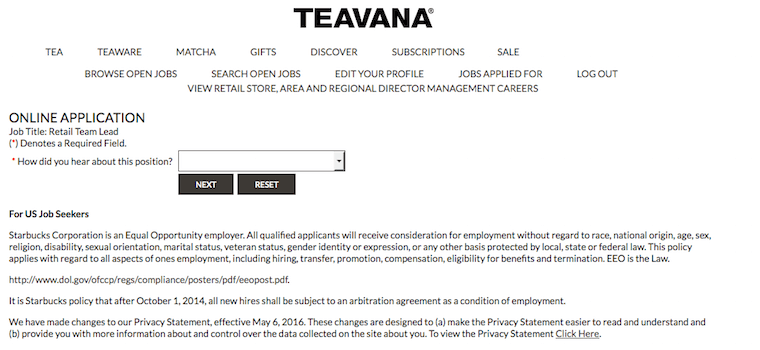 Teavana job application
